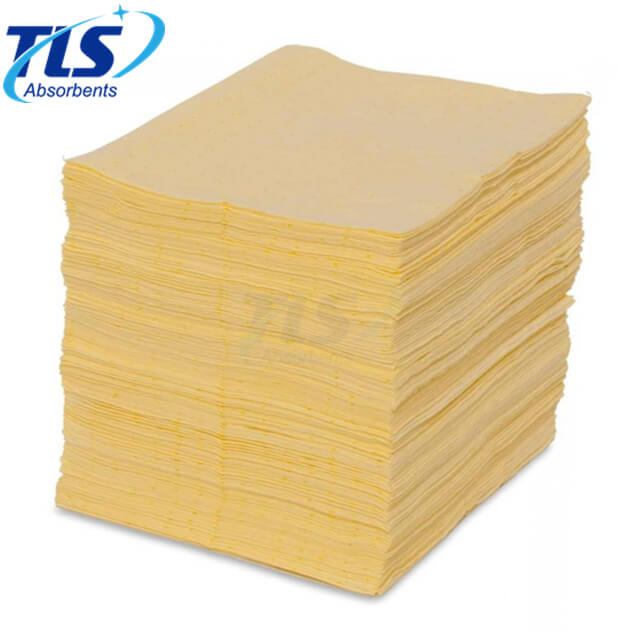 100% Polypropylene Yellow Absorbents Pads For Chemical Factory